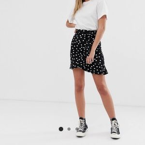 ASOS Black and White Polka Dot Ruffle Wrap Skirt